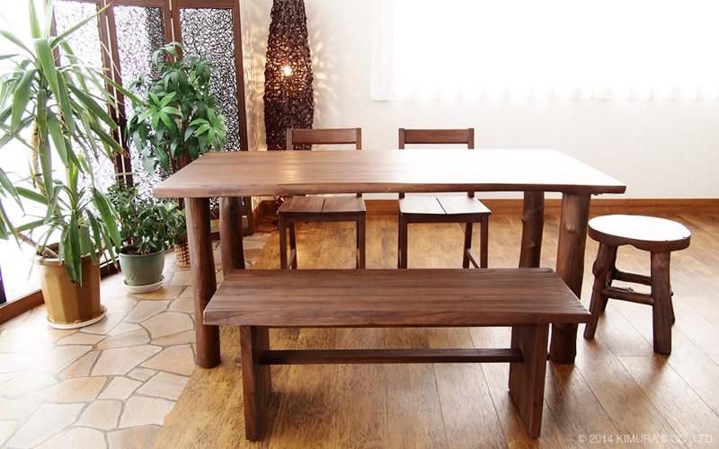 毎日の食卓ををバリ島のリゾートな癒しのリラックス空間に。アジアン家具アクビィシリーズのおしゃれなチーク無垢木製ダイニングテーブル