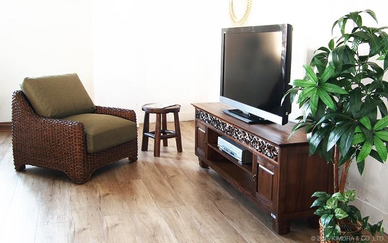 インドネシアのウブドをイメージしたチーク無垢木製TV台です