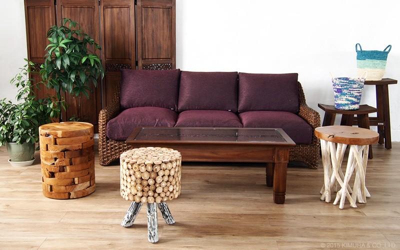 毎日の生活をバリ島のリゾートな癒しのリラックス空間に。アジアン家具アクビィシリーズのお部屋のアクセントにもオススメなスツールチェアです。