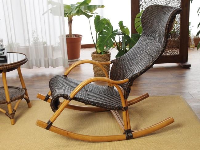 ハンドメイド 籐家具 網代編み ロッキングチェア(C100CB) サンフラワーラタン キムララタン