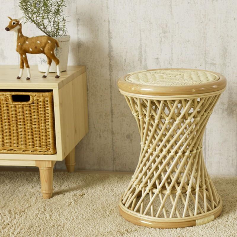 ラタン製 スツール 籐製腰掛け椅子 (C414N) サンフラワーラタン キムララタン