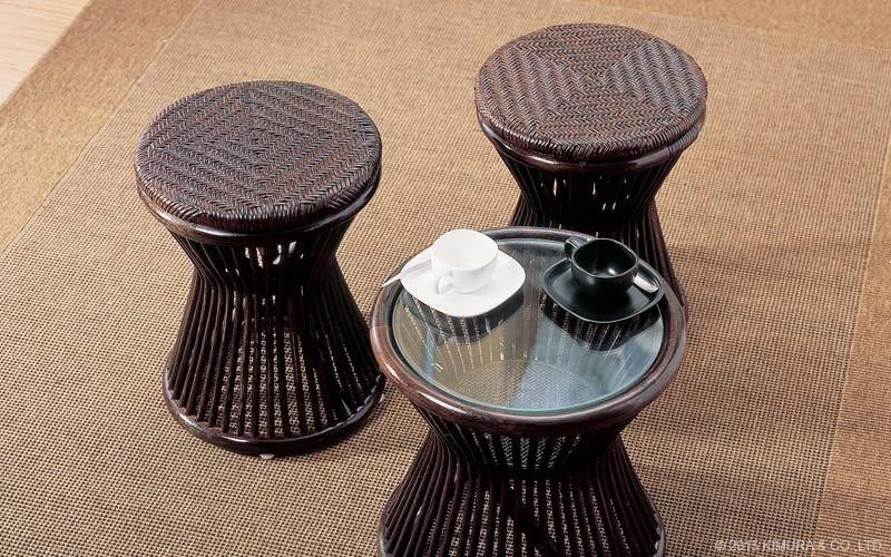 ラタン製網代編みスツール