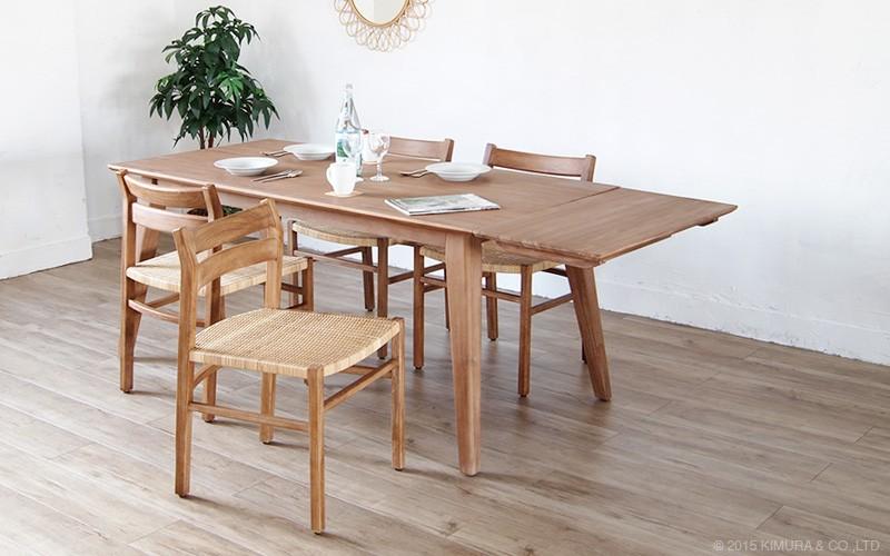 チーク無垢木製の伸縮式エクステンションダイニングテーブルT760XPと合わせておすすめ