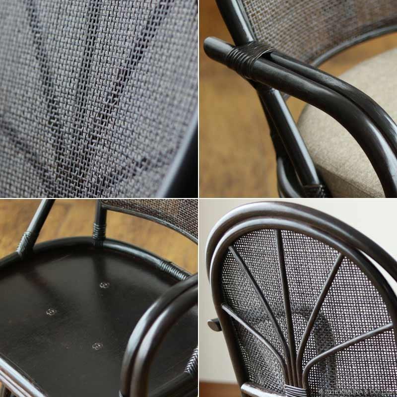 しなやかで軽くて丈夫な籐フレームの座椅子 背もたれ部は通気性が良いメッシュ仕様の籐四つ目編み