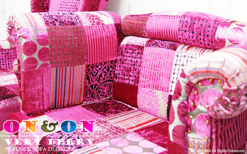 VERY BERRY キュートで可愛い ピンクのパッチワーク生地で作られたソファー