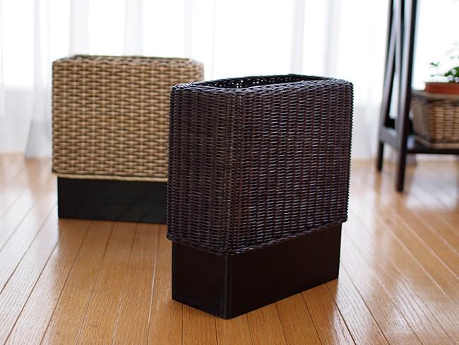 ウィッカー編み ゴミ箱 ごみ箱 ダストボックス ゴミ袋が隠れるラタンと天然木のくずかご(GK303LAT)