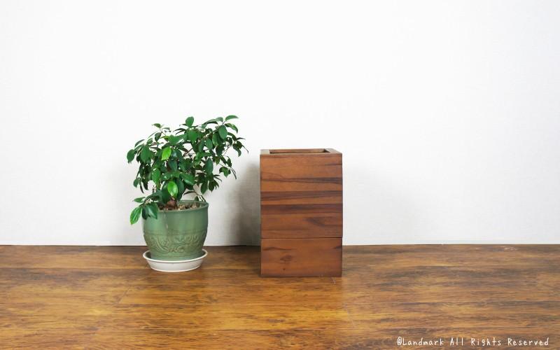 こだわりのチーク無垢木製のゴミ袋が隠れるおしゃれなゴミ箱