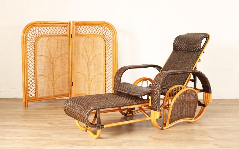 籐家具 リクライニングチェア 折り畳み ラタン パーソナルチェア  (M505CB) サンフラワーラタン キムララタン 三ツ折椅子