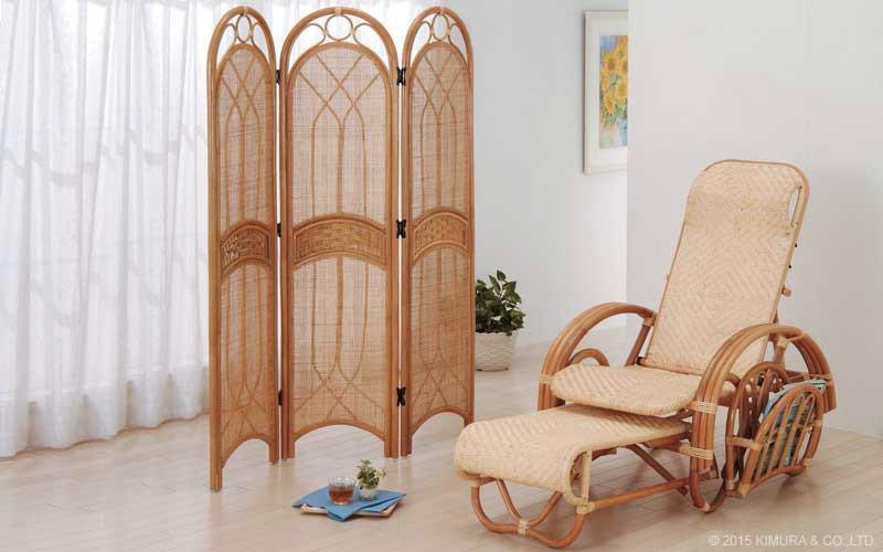 サンフラワーラタン 籐家具 ラタン製 パーティション 衝立 3連 (S700HR)