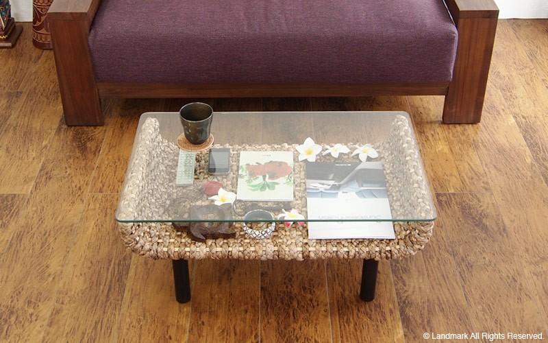 ウォーターヒヤシンスセンターガラステーブル