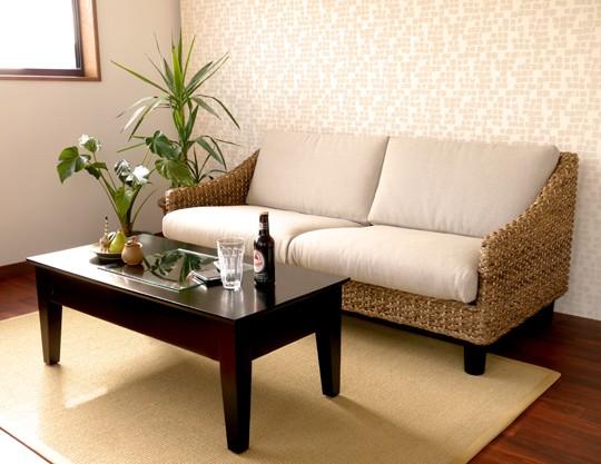 アジアン家具 天然木とウォーターヒヤシンスのセンターテーブル