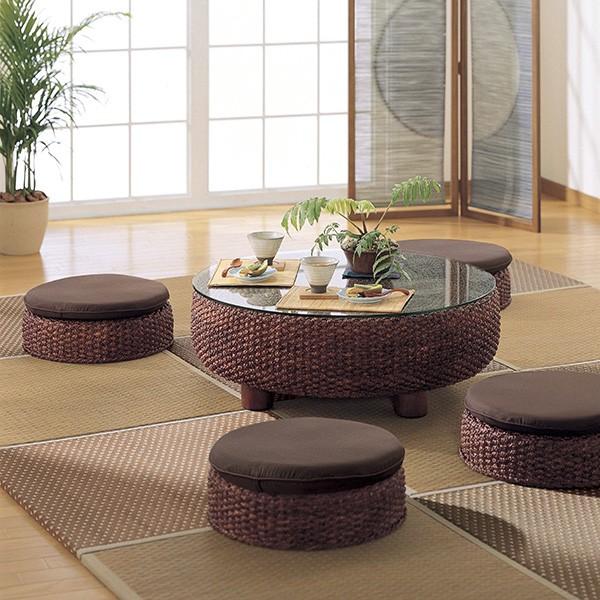L低くくつろぐゆとり。輪になって楽しむという、アジアのシンプル生活。センターテーブルと組み合わせて味わいのアジアン、和風モダンスタイルなリビングをつくります。