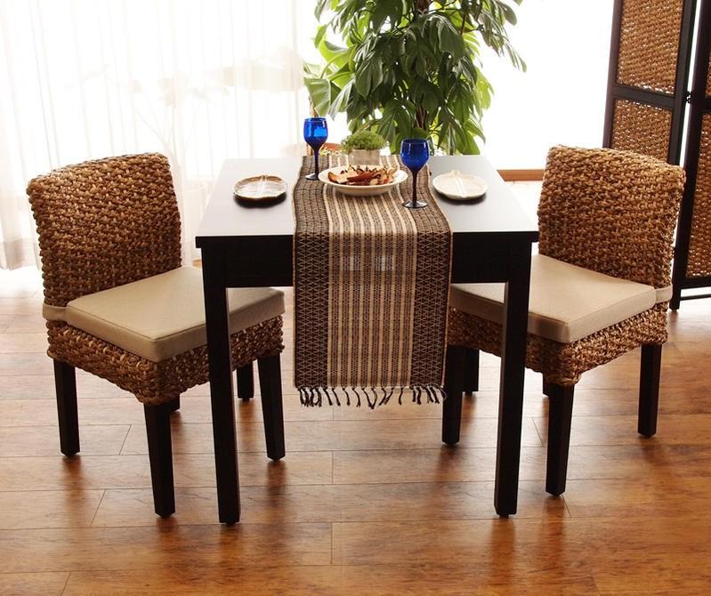 アジアン家具 ウォーターヒヤシンス ダイニングテーブル3点セット 2人用 (T17A3502) サンフラワーラタン キムララタン