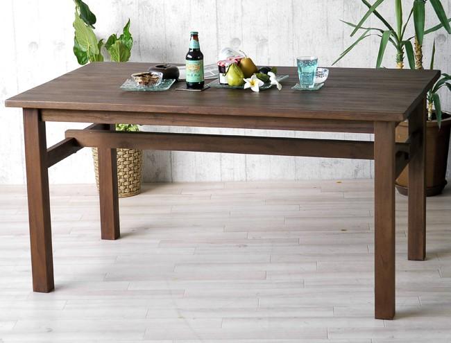 アクビィシリーズチーク無垢木製ダイニングテーブル140cm幅