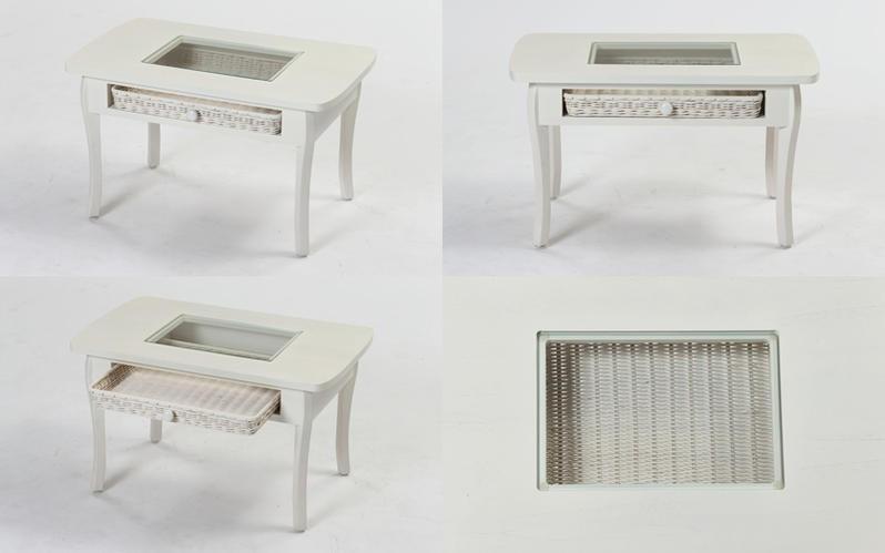 株式会社キムラ 籐、ラタン製のホワイトウォッシュカラーの机