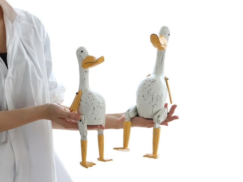 アヒル 木彫りの置き物 オブジェ 人形