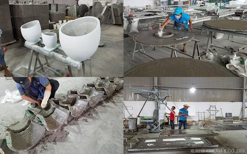 コンクリートはグラスファイバー(ガラス繊維)を混ぜ込んだコンクリートを使用しています
