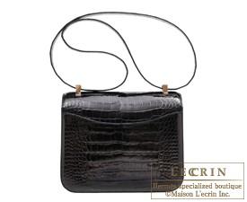 エルメス コンスタンス24 ブラック クロコダイル アリゲーター ローズゴールド金具