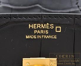 エルメス バーキン25 ブラック クロコダイルアリゲーターマット ゴールド金具