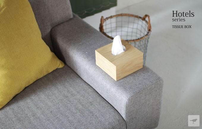 ホテル仕様の木製ティッシュボックス
