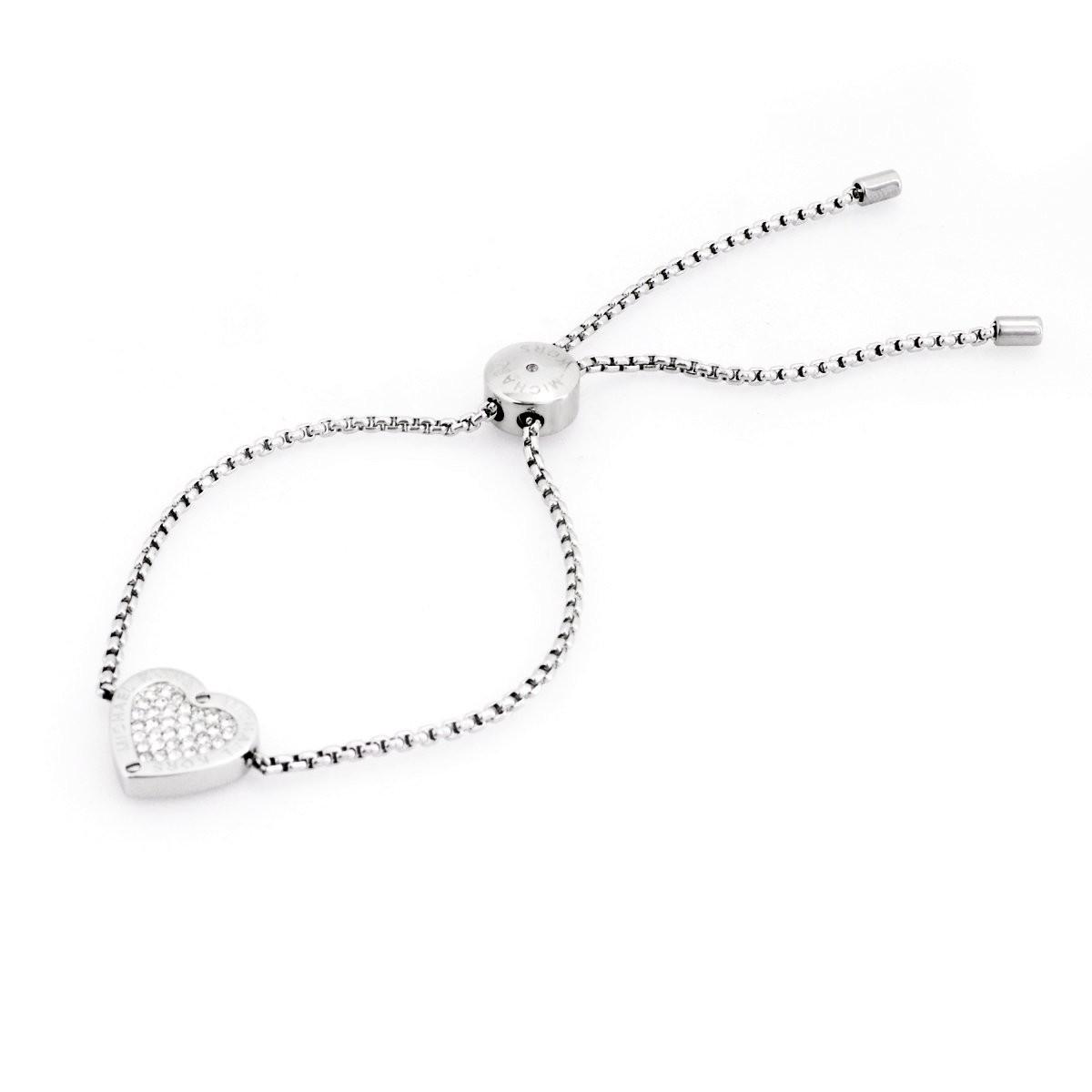 cedc42649209 マイケルコース MICHAEL KORS MKJ4141040 Pave Silver-Tone Heart Charm Slider  Bracelet パヴェ ハートチャーム
