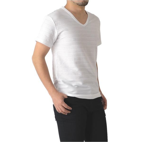 半袖 カットソー メンズ Vネック tシャツ タックボーダー オシャレ 無地 通販M15|limited|10