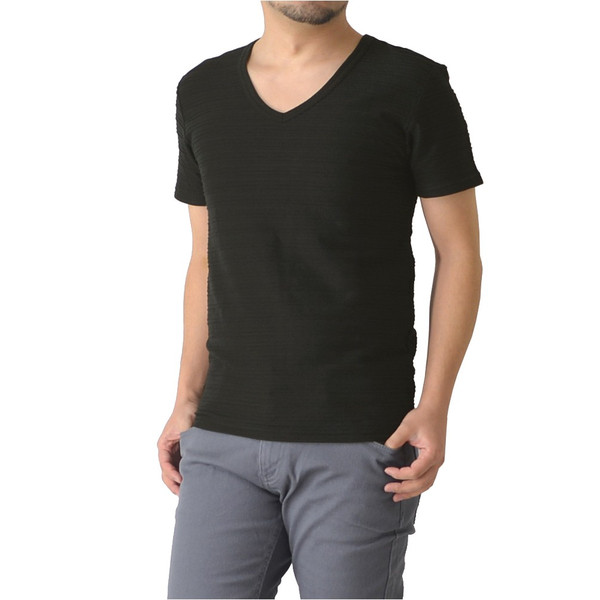 半袖 カットソー メンズ Vネック tシャツ タックボーダー オシャレ 無地 通販M15|limited|11
