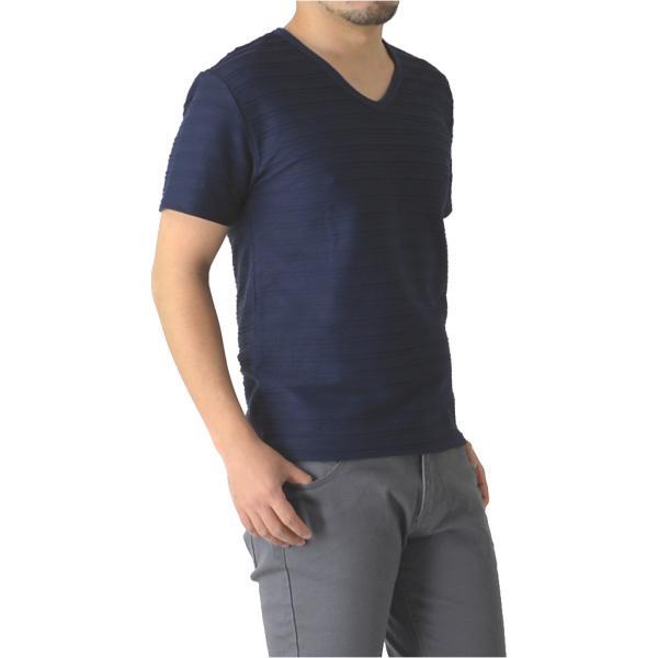 半袖 カットソー メンズ Vネック tシャツ タックボーダー オシャレ 無地 通販M15|limited|12