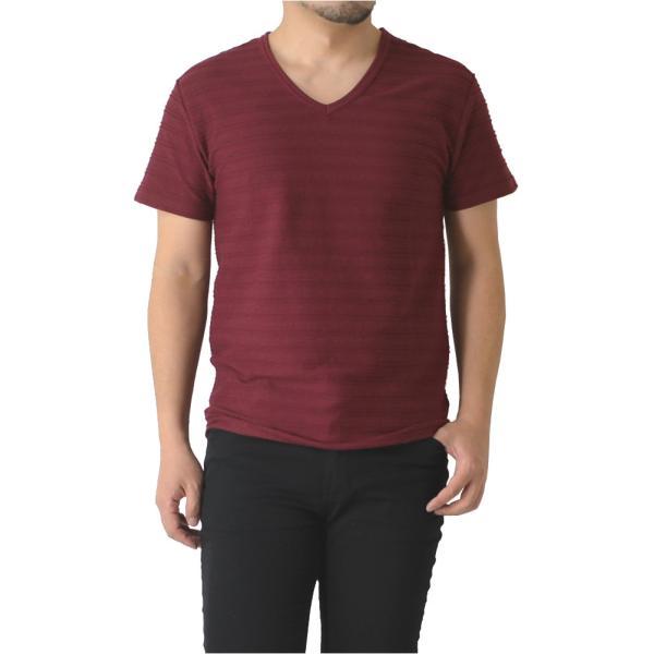 半袖 カットソー メンズ Vネック tシャツ タックボーダー オシャレ 無地 通販M15|limited|13