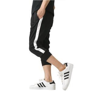 ジャージパンツ メンズ 7分丈 ストレッチ ジャージ 下 UPF50+ UVカット クロップドパンツ ハーフパンツ トレーニング スポーツ ライン入り 通販A3|メンズファッションリミテッド