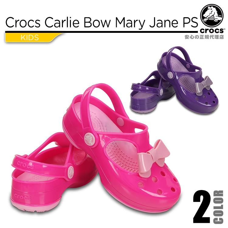 【crocs】【クロックス】【正規代理店】crocs carlie bow mary jane PS クロックス カーリー ボウ メリージェーン 正規品 キッズ ジュニア カジュアル サンダル ガールズ 女の子用 リボン ぺたんこ バックストラップ パンプス フラットシューズ 子供靴 春夏モデル