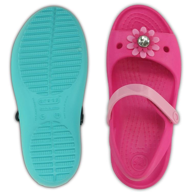 【crocs】【クロックス】【正規代理店】crocs keeley mini wedge girls PS クロックス キーリー ミニ ウェッジ ガールズ 正規品 キッズ ジュニア カジュアル サンダル ガールズ 女の子用 オープントゥ バックストラップ ぺたんこ フラットシューズ フラワー 子供靴 春夏モデル