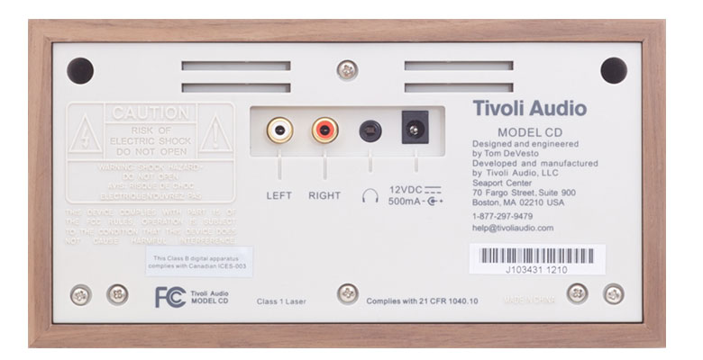 Tivoli Audio(チボリ・オーディオ)のModel CDの裏側