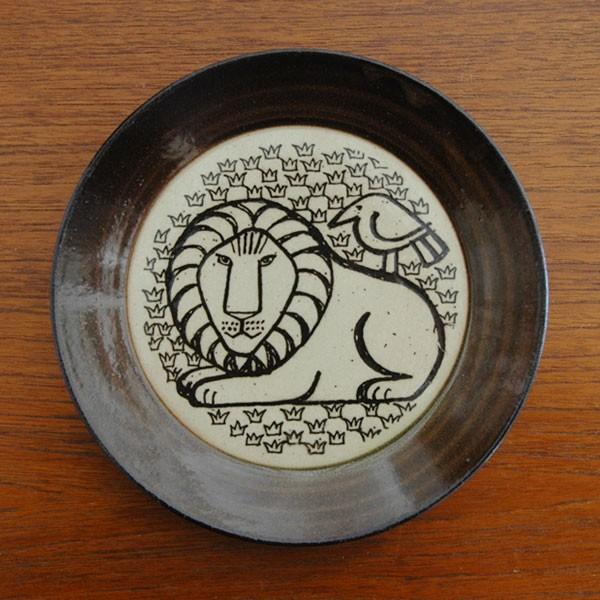 益子の皿ライオンと鳥,Lisa Larson,リサラーソ,JAPAN Series