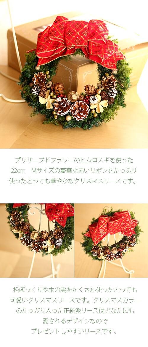 赤いリボンと木の実の可愛いクリスマスリース lpm0107 商品イメージ0