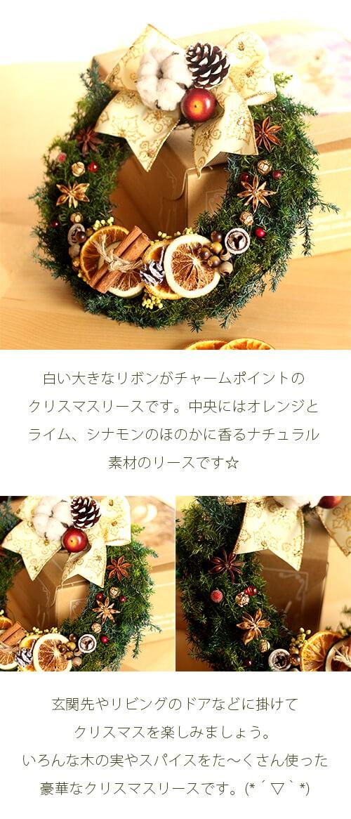 白いリボンのオレンジとスパイスのクリスマスリース lpm0108 商品イメージ0