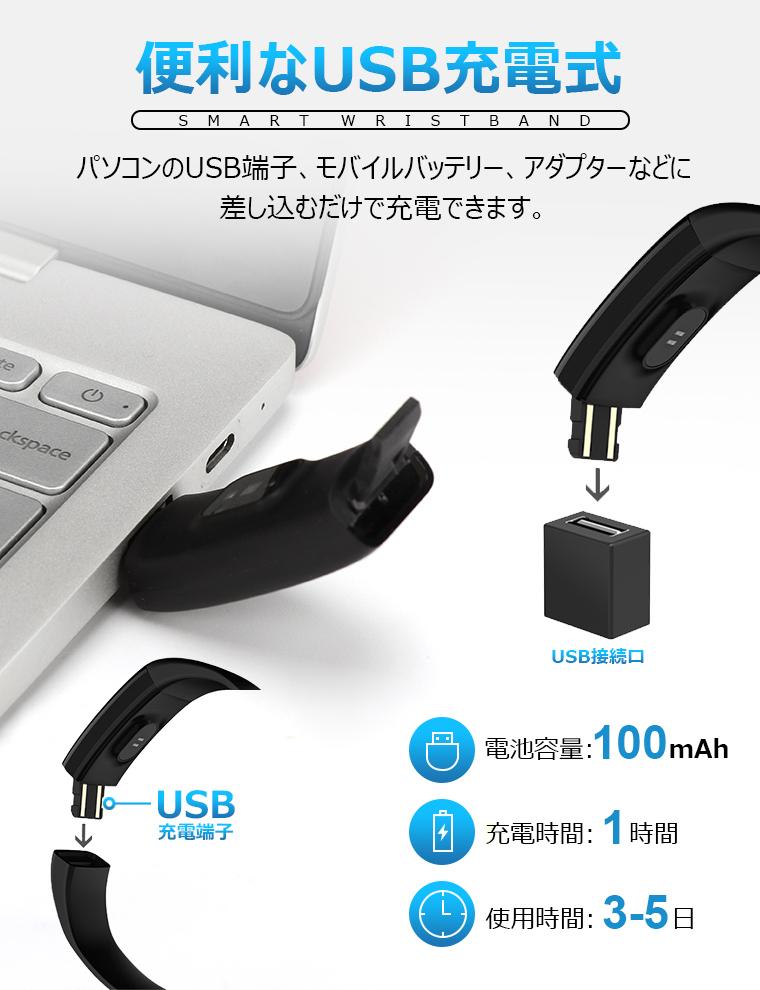 スマートブレスレット LINE対応 日本語