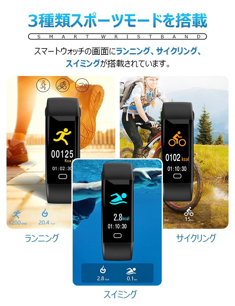 スマートウォッチ 血圧 活動量計 心拍計 歩数計