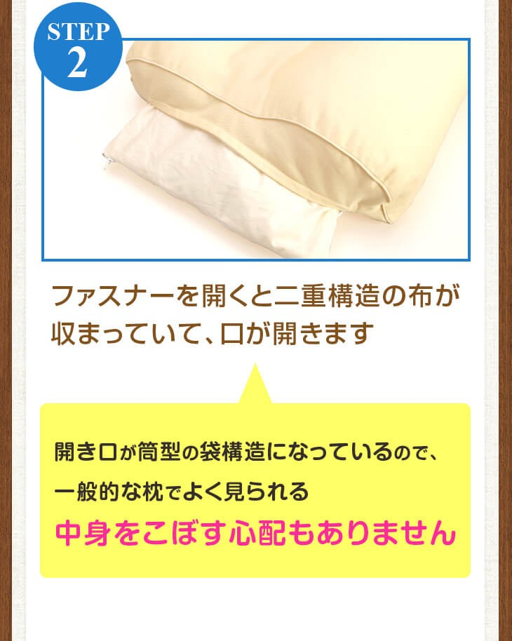 """いびき枕の横のファスナーから中のを取り出し、高さを調節します ファスナーを閉める際は中袋とを""""押し込みながら""""閉めてください"""