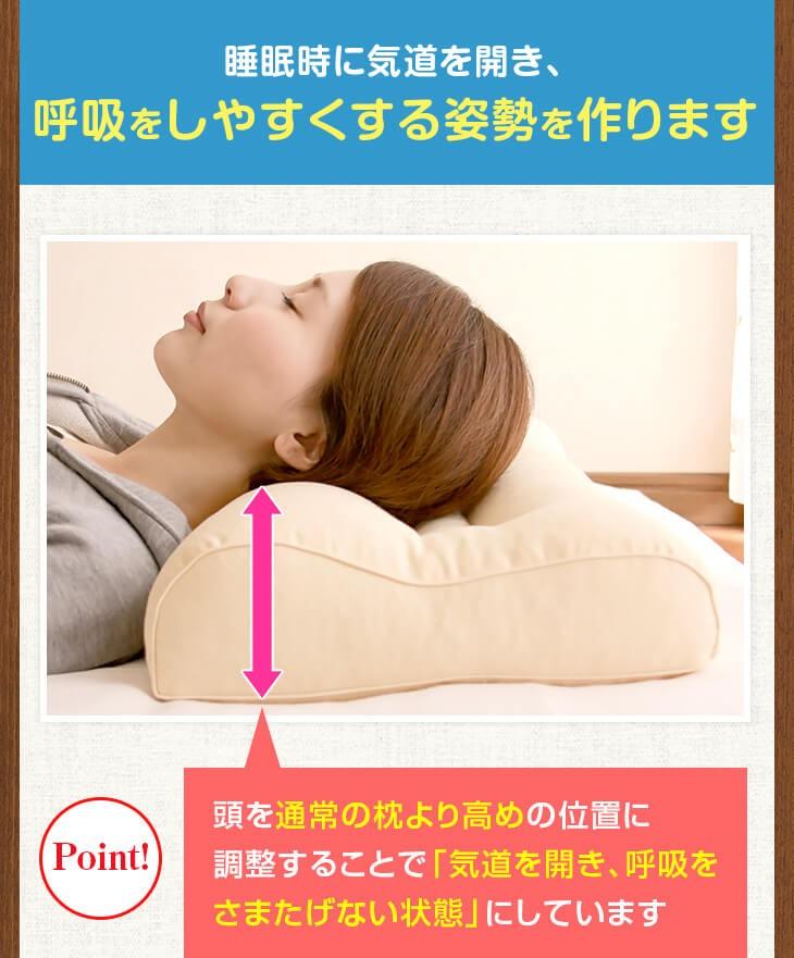 いびき防止 いびき枕スタンダードは気道を開き、呼吸をしやすくします 睡眠時に気道を開き、呼吸をしやすくする姿勢を作ります