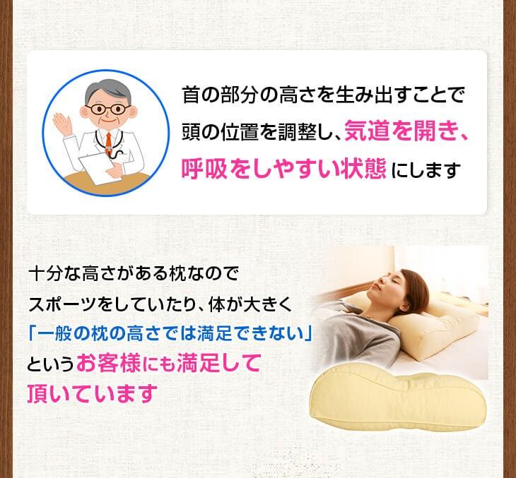 頭を通常の枕より高めの位置に調整することで「気道を開き、呼吸をさまたげない状態」にしています 「一般の枕の高さでは満足できない」というお客様にも満足して頂いているいびき防止用いびき枕です