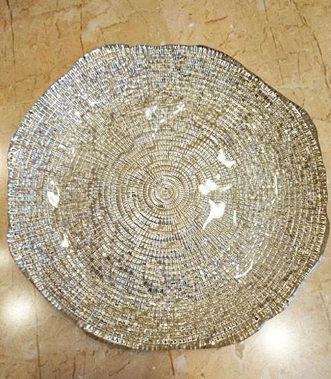 【IVV・イタリア製】ガラス皿Diamante/ディアマンテシャンパンゴールド22cmプレート(6246_8)5