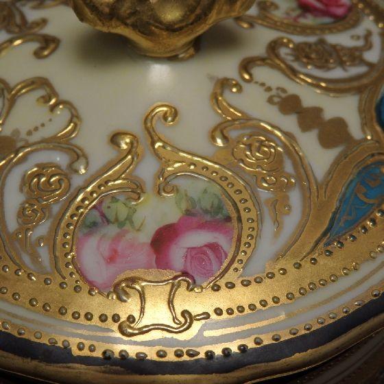 【オールドノリタケ】金盛上薔薇図紋 ミルクコンテナ メープルリーフ印【中古】