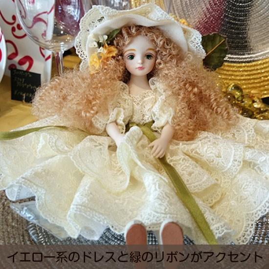 【若月まり子人形作品】フィルクローシェシリーズアンネット2:イエロー系のドレスと緑のリボンがアクセント