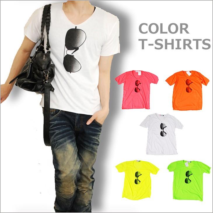 蛍光色サングラスTシャツ