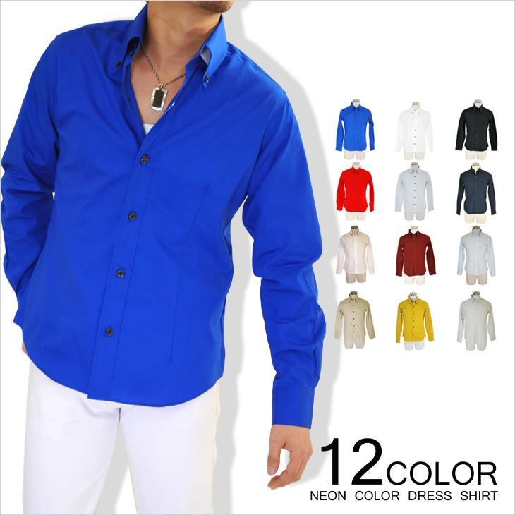 日本製ネオンカラードレスシャツ