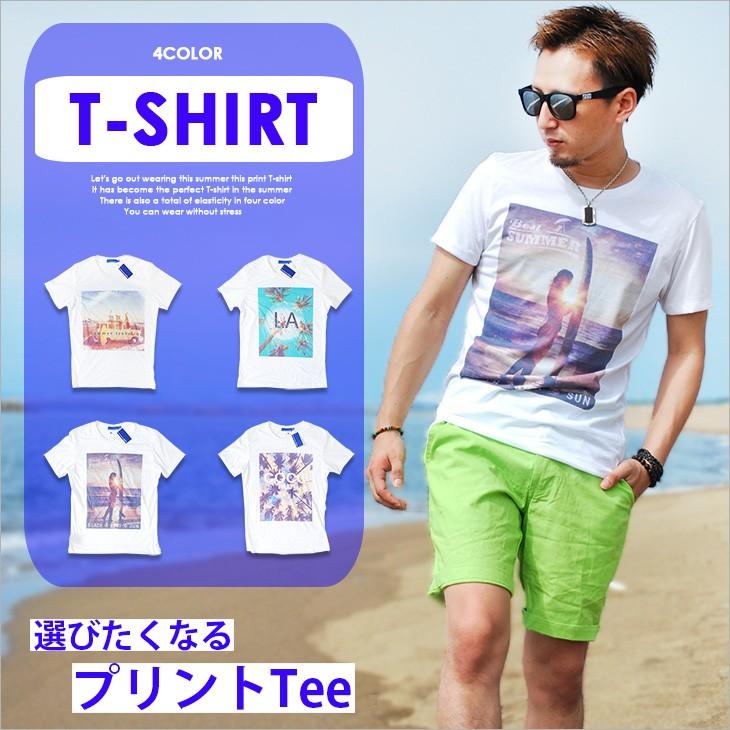 ビーチ転写プリント半袖Tシャツ