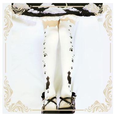 ロリータファッション ゴスロリファッション ゴスロリ カジュアルロリータ タイツ ソックス 2色 バイカラー 猫 ネコ ねこ cat 肉球 猫耳 ネ 【ポスト投函対応】|loliloli|05