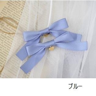 リボンクリップ 5色 NyaNya 通年 2個セット ヘッドドレス ヘアアクセサリー 雑貨 小物 ストライプ 無地 かわいい 甘ロリ ガーリー おしゃれ  【ポスト投函対応】|loliloli|10