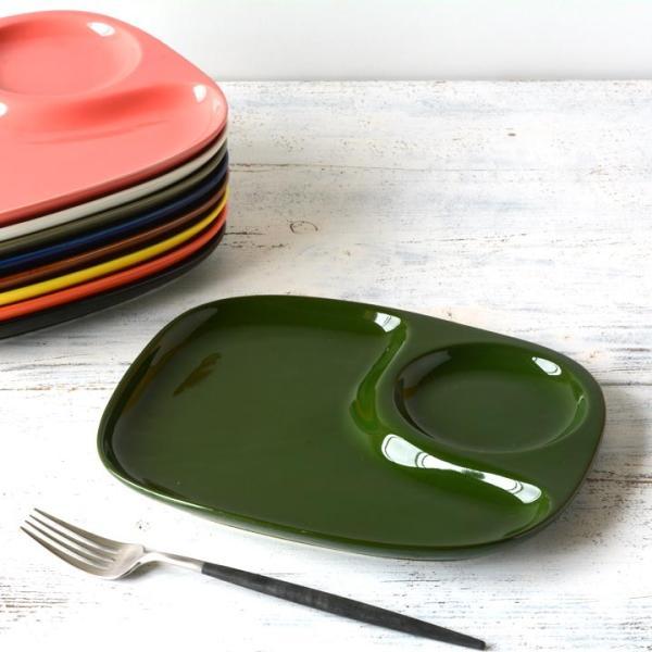 二つ仕切り ランチプレート 23cm 全9color  取り皿 おしゃれ お皿 皿 食器 プレート オシャレ 陶器 美濃焼き 可愛い 北欧 日本製|long-greenlabel|26